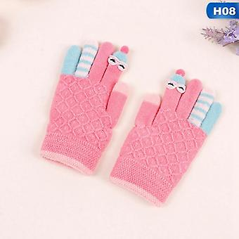 Winter Kids Gloves Warm Knitted Gloves Full Finger Thick Mittens With Bear Bow