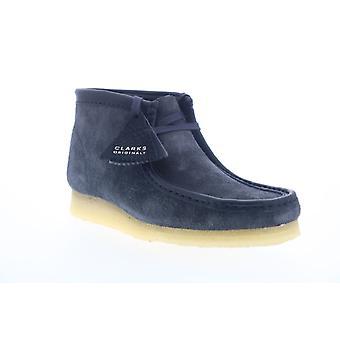 Clarks Wallabee Boot Herren blau Wildleder Schnürsenkel Chukkas Stiefel