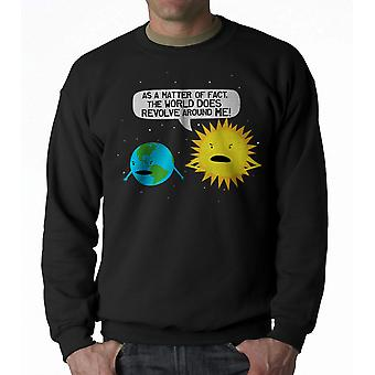 Humor World Revolves Men's Black Sweatshirt