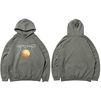 Men Hoodie Sweatshirt, Hip Hop Streetwear, Lightning Pullover, Autumn, Winter
