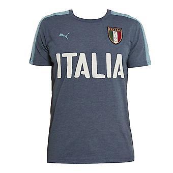 Puma Italia Azzurri FIGC Boys Junior T-Shirt Blue Top 748819 01