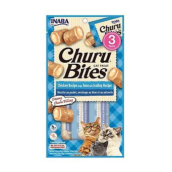 Churu لدغات للقطط التونة وصفة مع الاسكالوب 3packs