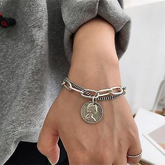 Bohemian Style Carved Coin Circle Queen Thick Chain Tassel Pendant Bracelet