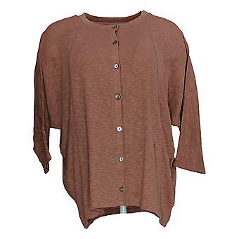 LOGO By Lori Goldstein Women's Sweater Slub Cardigan Pink A354568