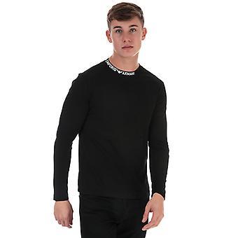 Men's Armani Neck Logo Long Sleeve T-Shirt in Black