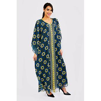 Kaftan mayssoun tiered sleeve chiffon loose maxi dress gandoura abaya in floral print