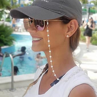 Lukulasiketju, metalliset aurinkolasit Rento Helmi helmillä silmälasi ketju