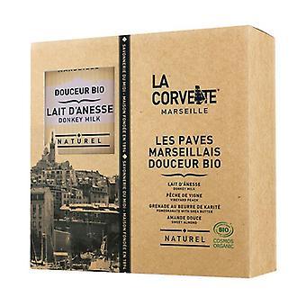 Box of organic Marseillais Douceur pavers 4 units of 100g