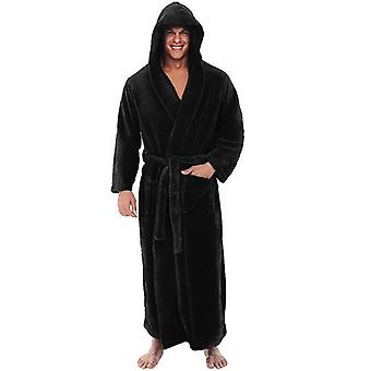 Men's winter plush alargado albornoz de chal, ropa de casa, abrigo de manga larga,
