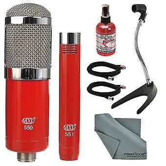 Paquete de kit de conjunto de micrófono Mxl 550/551 con soporte de escritorio de micrófono + cable xlr + micrófono sanitzer + paño de limpieza de fibra