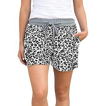 Lässige weiße Leopard Print Drawstring Taille Frauen Shorts