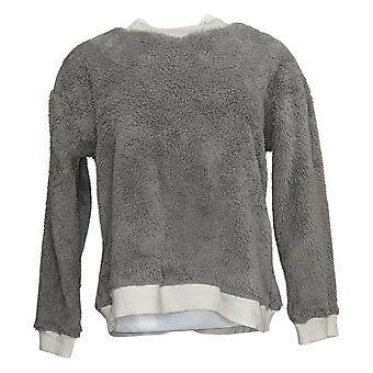Cuddl Duds Women's Pajama Top Petite Sherpa Pullover Gray A381803