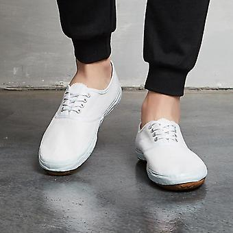 Top One Classic Tennis White Shoes, Solid Canvas Anti-skid Men And Women Shoes