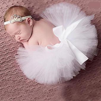 Girl Skirt And Flower Headband Set, Newborn Props