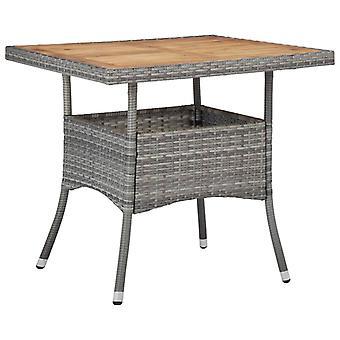 Tavolo da pranzo esterno grigio poli rattan e legno massello di acacia