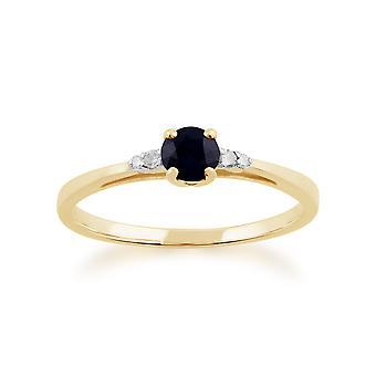 Classic Round Sapphire & Diamond Ring in 9ct Yellow Gold 135R1309039
