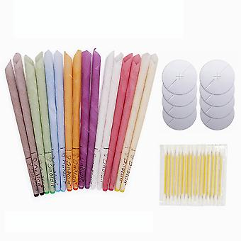 Ear Candle Beeswax Set 16pcs Aromatherapy Earwax Candles  8pcs Horn Earplug Trays 16pcs Cotton Sticks Ear Wax Remover Healthy Therapy Ear Care Tools