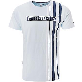 Lambretta Mens Multi Stripe Crew Neck Cotton T-Shirt Tee Top - Cool Blue