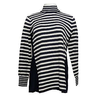 Susan Graver Women's Sweater Striped W/Button Detail Blue A372460