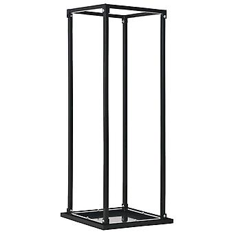vidaXL firewood shelf with bottom Black 37 x 37 x 113 cm steel