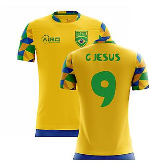 2020-2021 Brazília Home Concept Futball mez (G Jesus 9) - Gyerekek