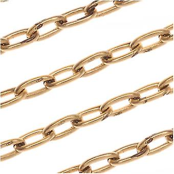 Nunn Design Antiqued Gold Plated Oval Cable Chain, 2.3mm, par le pied