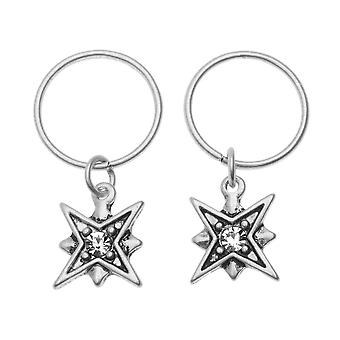 Zola Elements Charm, North Star med kristall 12x10mm, 2 stycken, antik silverton