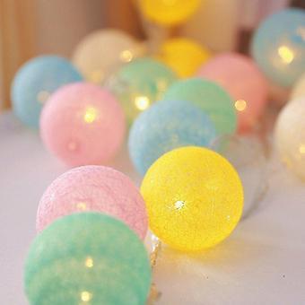 20 Led Cotton Ball Garland String Light