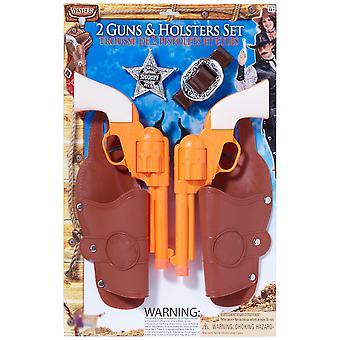 Cowboy Sheriff Western Double Holster Gun Pistols Men Costume Kit