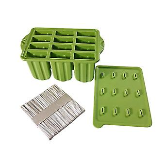 Ice Cube Tray PopsicleTool Silicone Frozen Ice Popsicle Maker 12 Cavities Ice Cream Mold(Green)