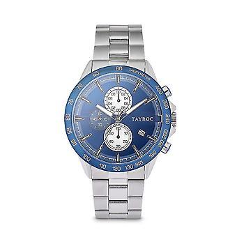 Tayroc hampton 44mm stainless steel chronograph watch blue/silver
