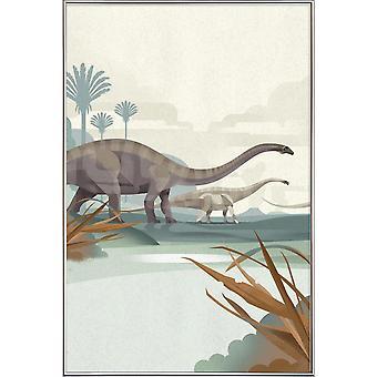 Stampa JUNIQE - Diplodocus - Poster dinosauro e creature mitiche in bianco marrone e crema