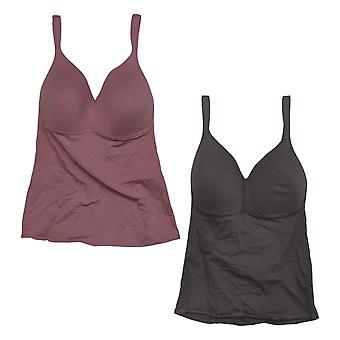 Rhonda Shear One 2-Pack Cotton Molded Cup Camisole Purple Bra 728793