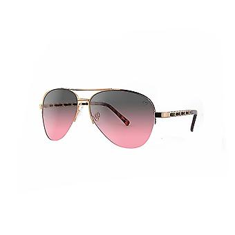 Ruby rocks metal new york aviator sunglasses with fabric braid detail temple in rose gold