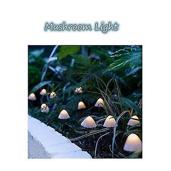 5M white led solar ground plug mushroom string light outdoor waterproof lscape light dt4931