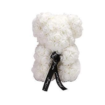 Valentinstag Geschenk 25 cm Rose Bär Geburtstagsgeschenk£¬ Memory Day Geschenk Teddybär (Weiß)
