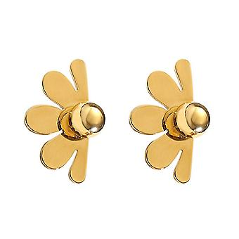 Ear Studs Metal Flower Golden Pearl Copper Plated Ear Clips For Daily Use
