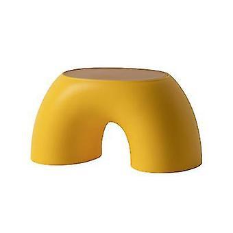 שרפרף ילדים בצורת קשת פשוט שרפרף ביתי קטן מעוגל (צהוב)