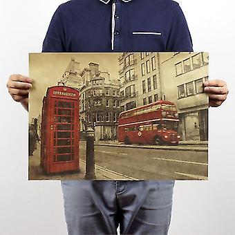 Tijdschriften kranten londen bus en telefooncel vintage kraft papier poster