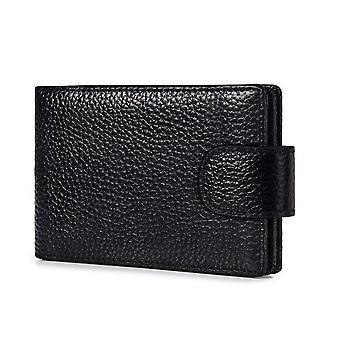 Card Case Slim Unisex Genuine Leather Rfid Blocking Bifold Wallet