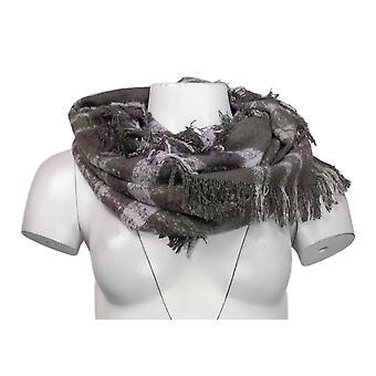 Unbranded Sweater Knit Plaid Infinity w/ Fringed Trim Gray Scarf