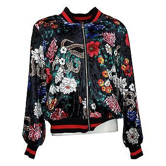 Colleen Lopez Dames Bedrukt Velvet Bomber Jacket Zwart 672985