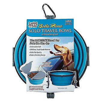 Loving Pets Bella Roma Blue Travel Bowl - 1 conteggio - Grande