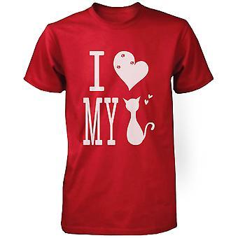 Men's Cute Graphic Statement T-Shirt - I Love My Cat Red Graphic Tee