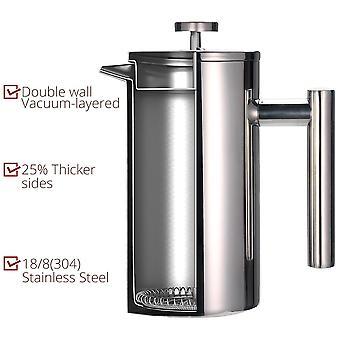 Press kaffebryggare dubbelvägg rostfritt stål håller bryggt kaffe eller te varmt