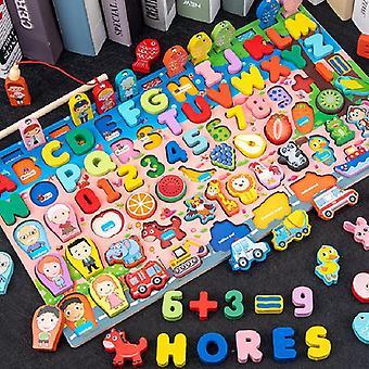 Dřevěná matematická rybářská desková hra Baby Early Educational Cognitive Matching of Traffic Toys