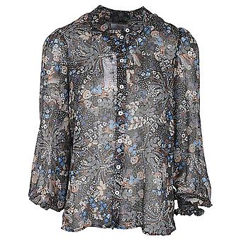 Tinta Style Black Delicate Floral Design Long Ruff Sleeve Sheer Blouse