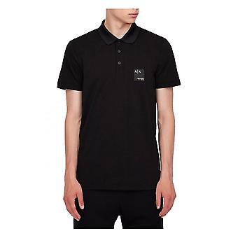 Armani Exchange A x Mens 3 Button Polo Shirt Black