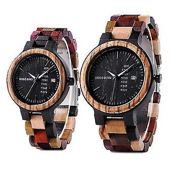 Casual træ kvinders ur ugekalender kvarts ur (Kvinde)