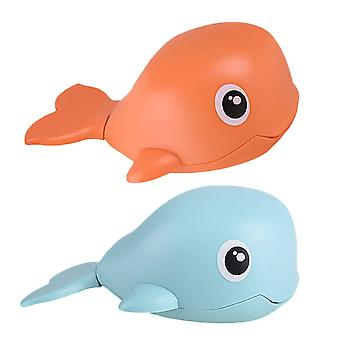 2pcs Clockwork Swim Whale Toy Baby Bathing Plaything Movable Whale Plaything